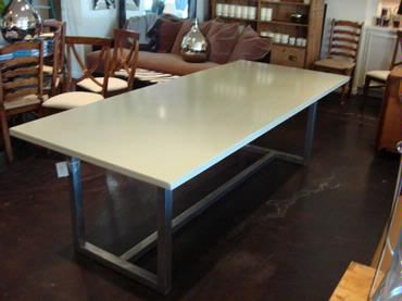 Exceptional Los Angeles Rectangle Concrete Top Dining Table With Stainless Steel Base  Custom Quotes Available Upon Request