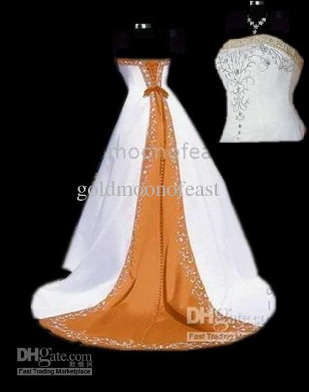 Whole White And Orange Y Wedding Dress Gown Bridesmaid Formal