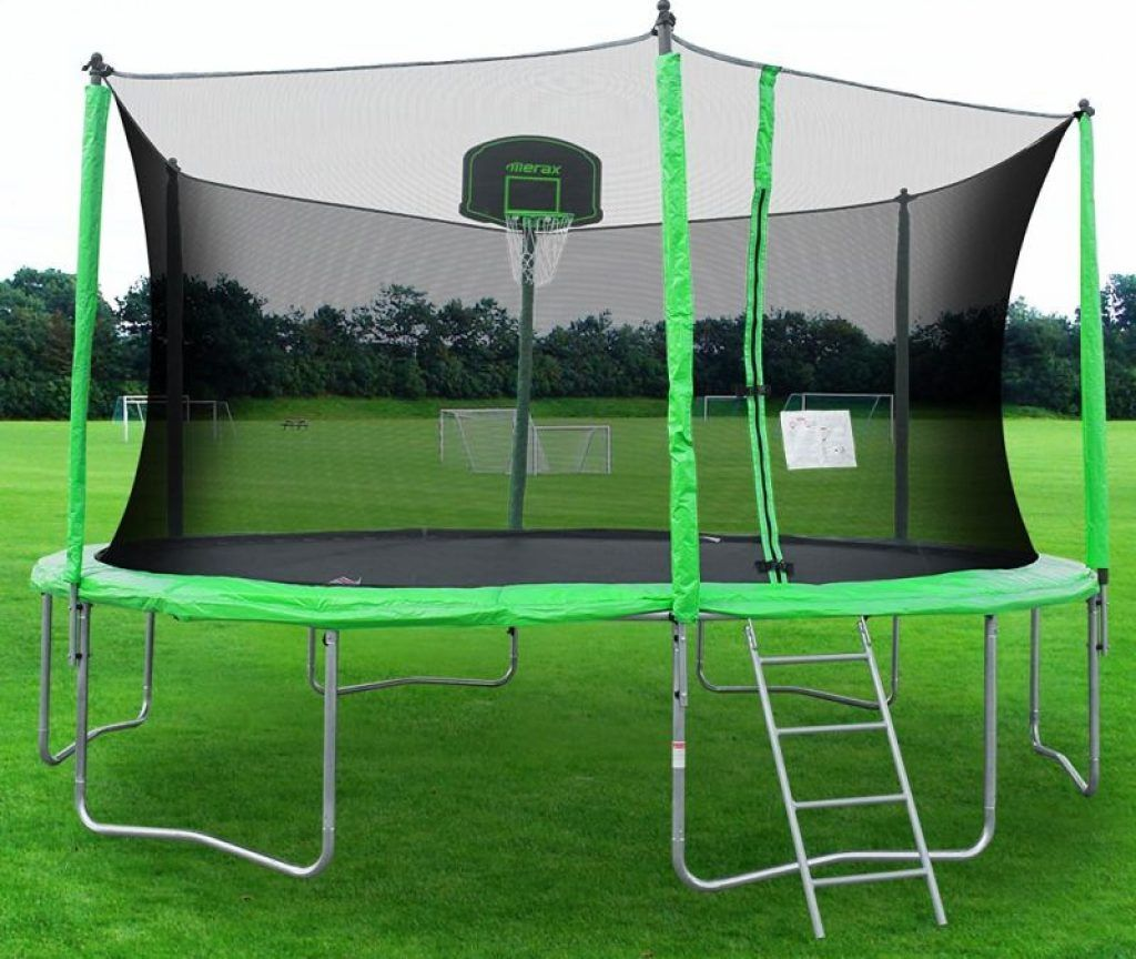 Round Trampoline with Safety Enclosure, Basketball Hoop