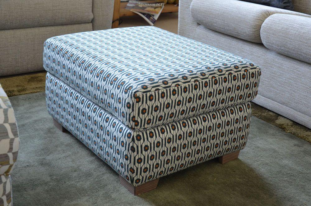 G Plan Storage Footstool Washington Retro Geometric Pattern Fabric Wood Feet