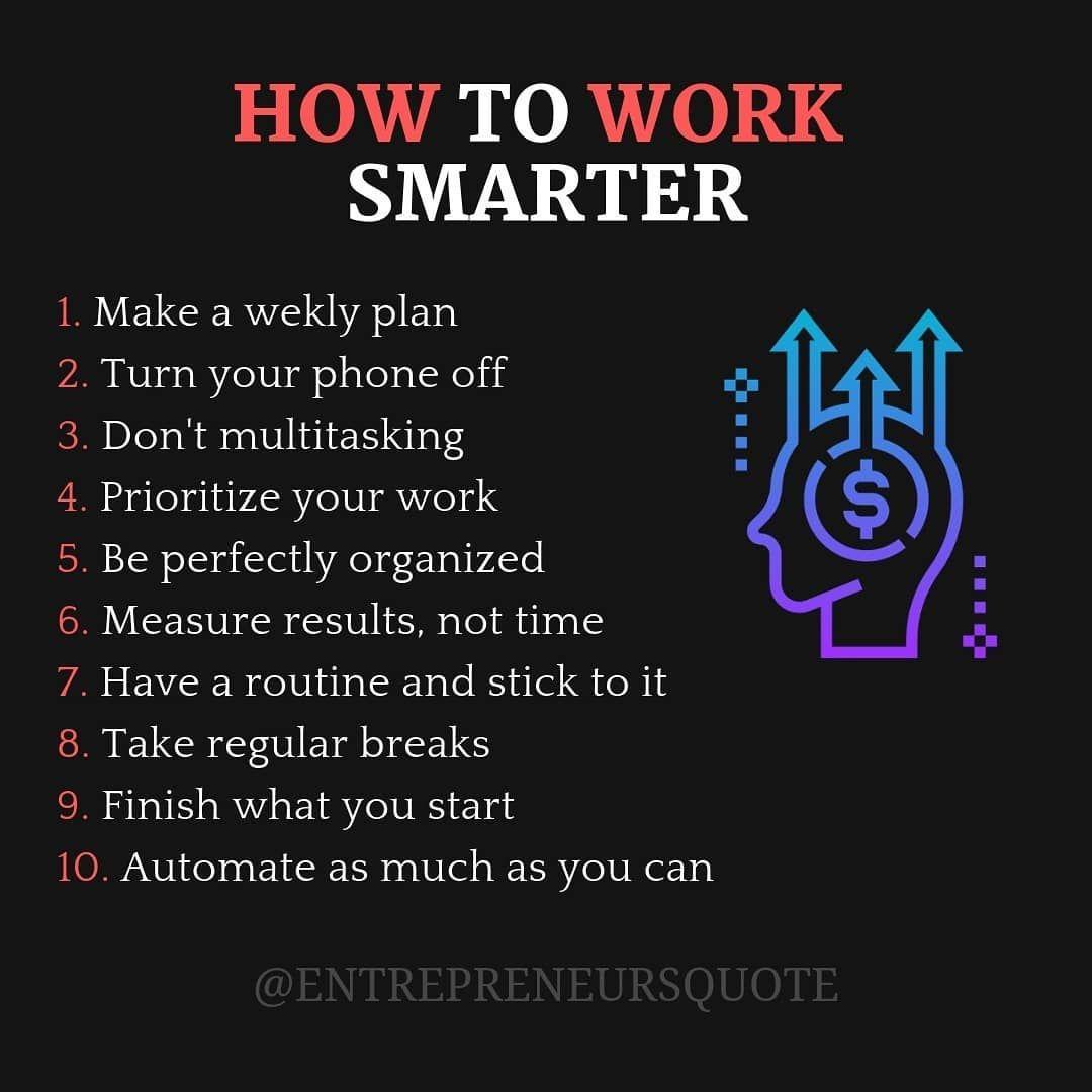 Work Smarter Not Harder Business Motivation
