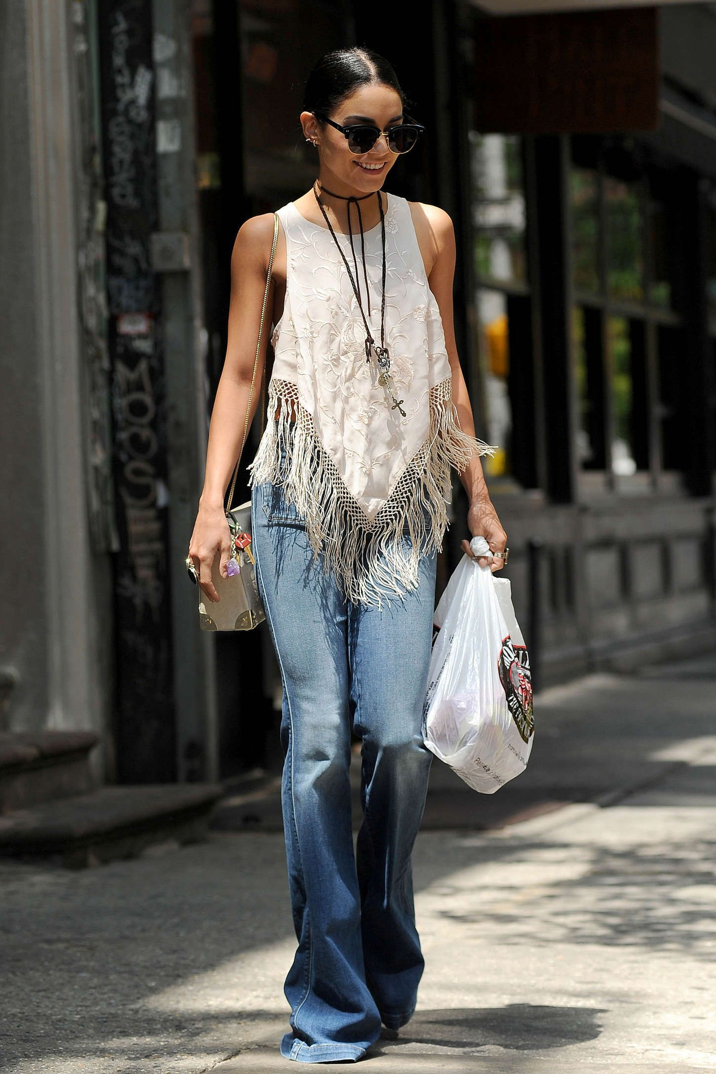 Vanessa Hudgens Out in Soho -04   Flare jeans style ...