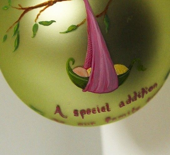 New Addition Peapod Ornament for Girl - Hand Painted and Personalized