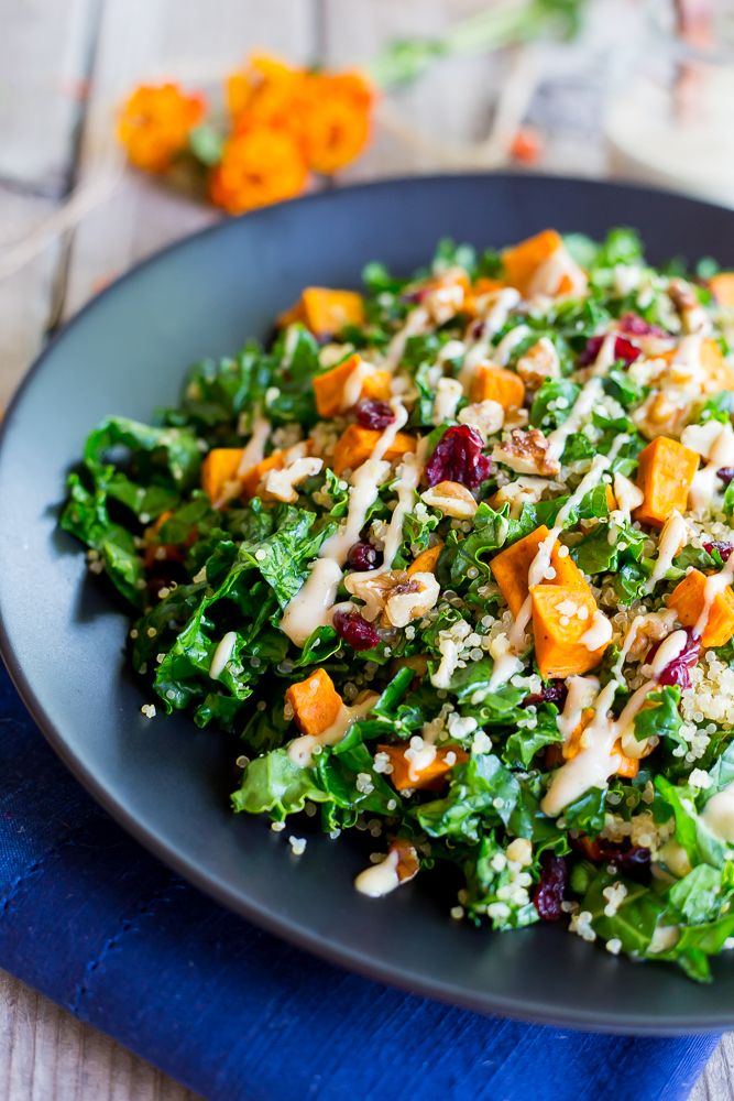 This Fall Quinoa Salad with Kale, Sweet Potato & Maple Tahini Dressing is a healthy and fresh salad that is gluten free and vegan!