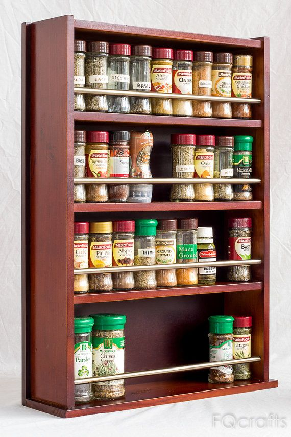 Spice Rack Wooden Closed Top 4 Tiers Stainless Steel Tube