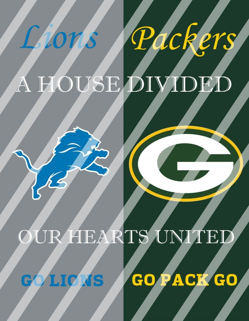 Lions Packers House Divided Wall Decor Sign Instant Download Print Framed House Divided Divider Instant Download Prints