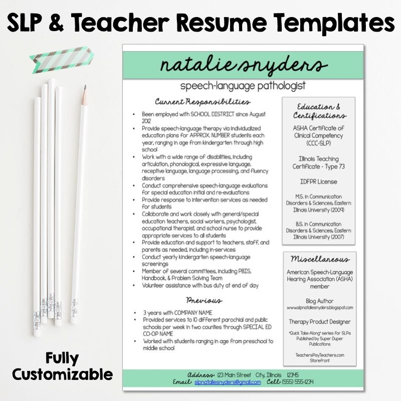 SLP \ Teacher Resume and Cover Letter Templates - Fully Editable - what goes in a resume cover letter