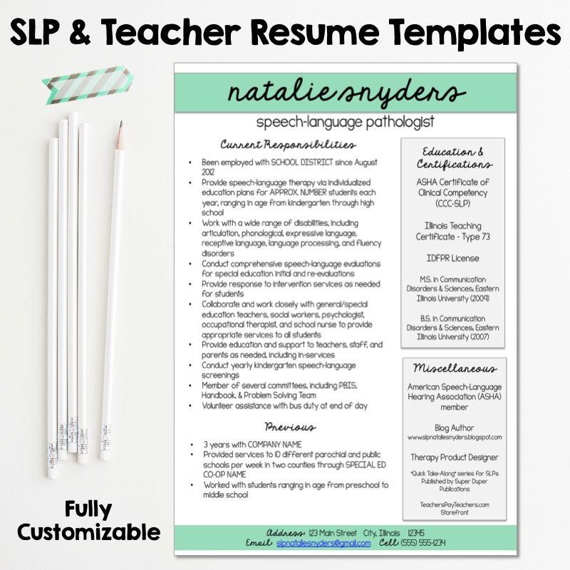 Slp Teacher Resume And Cover Letter Templates Fully Editable Speech And Language Speech Language Pathologists Teacher Resume