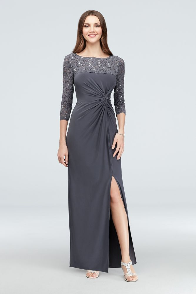 e1e870718a78 3/4-Sleeve Sequin Lace and Ruched Jersey Gown Style 82351462, Smoke, 16P