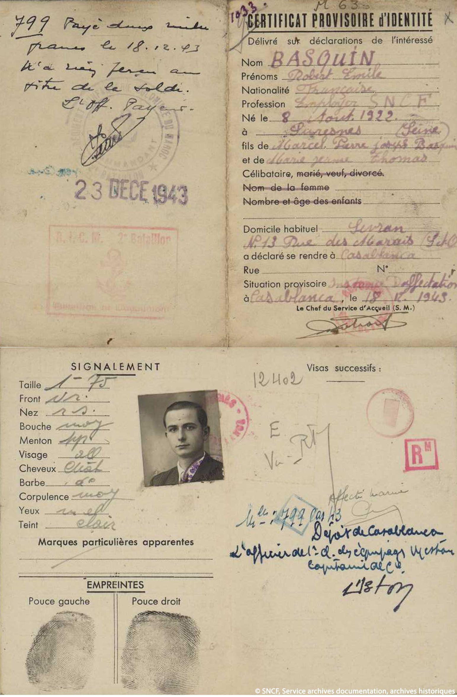 14 Certificat provisoire d'identité délivré à Casablanca