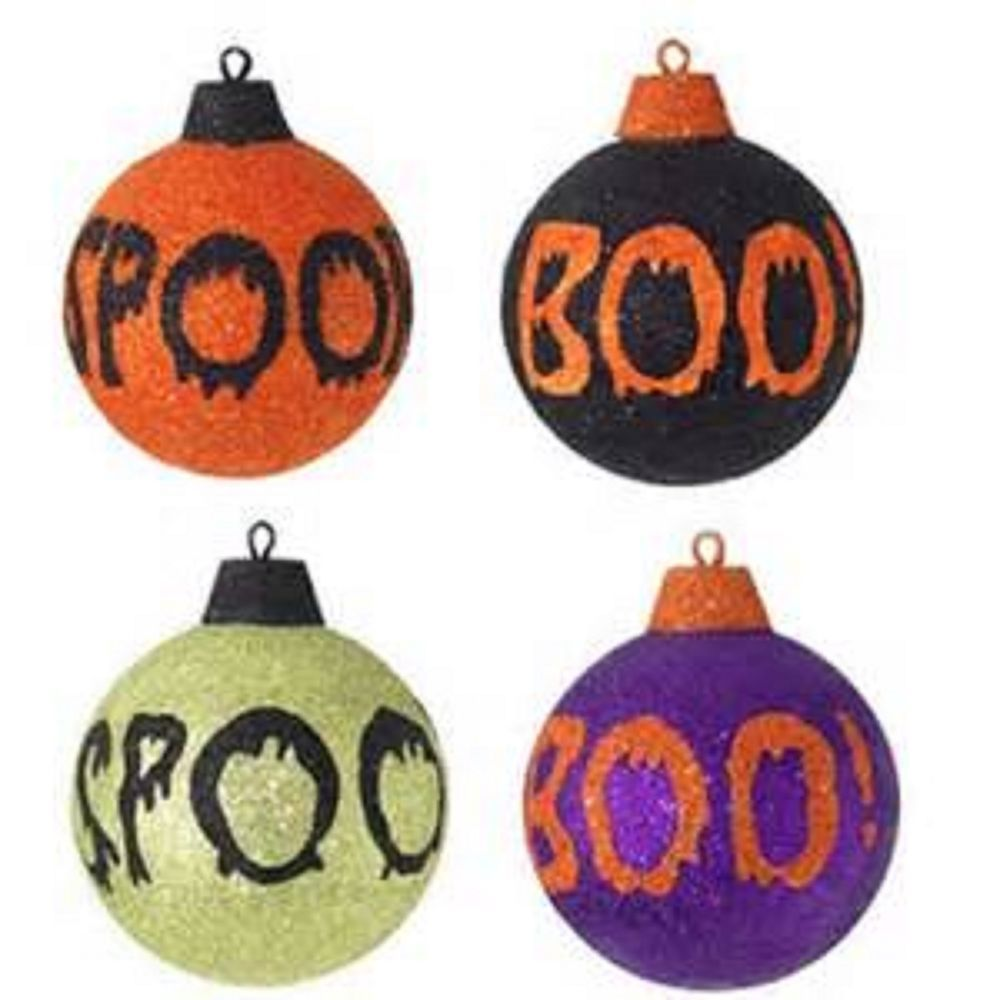 RETIRED RAZ IMPORTS SET OF 4 SPOOKY HALLOWEEN GLITTERY ORNAMENTS ...