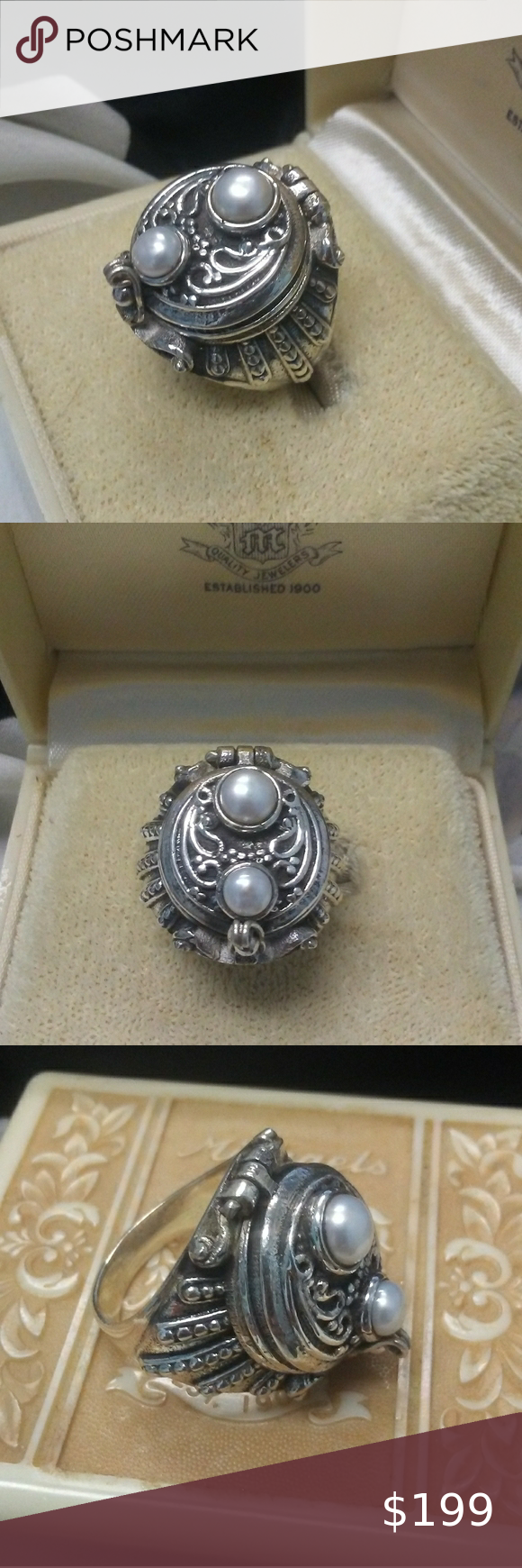 Vintage 925 REAL Pearls Poison Ring Gorgeous Vintage 925 Sterling Silver genuine cultured pearls Poison Ring. In Excellent Vintage Condition. Size 6.5. Item (088) Vintage Jewelry Rings