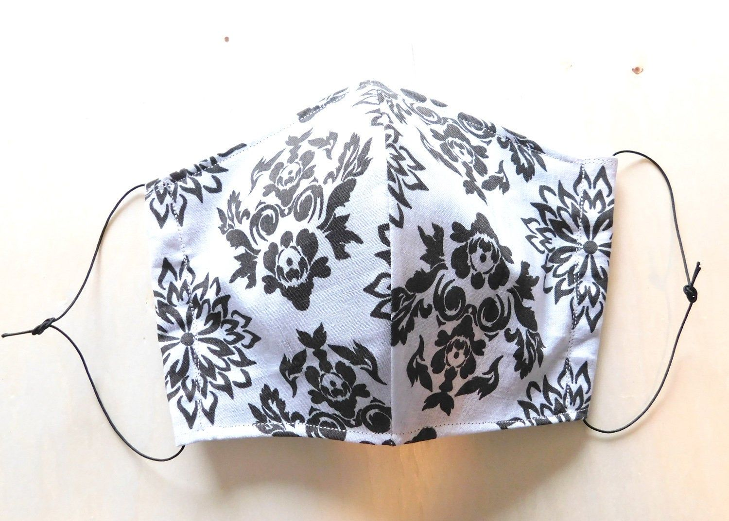 Black White Floral Pattern Reusable Washable Face Mask