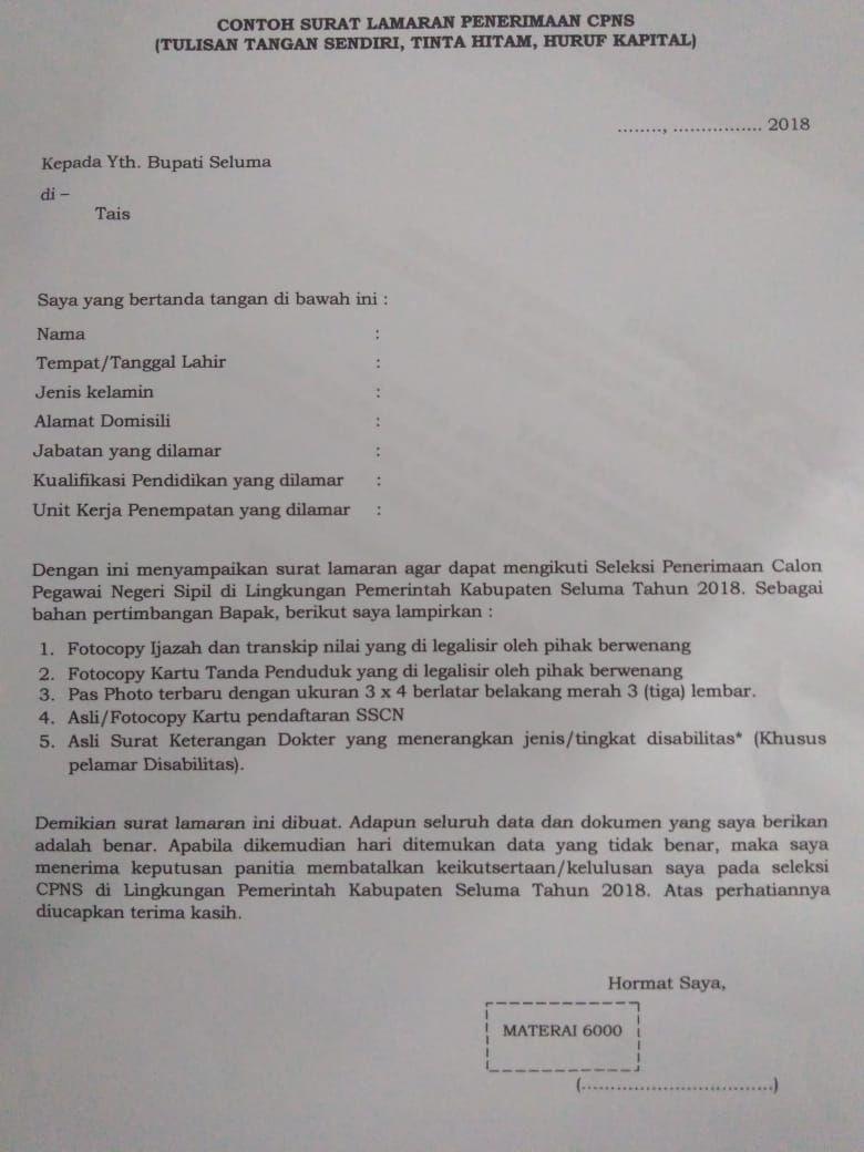 Contoh Surat Lamaran Untuk Pendaftaran Tes Cpns Kabupaten Seluma Bkpsdm Surat Person Personalized Items