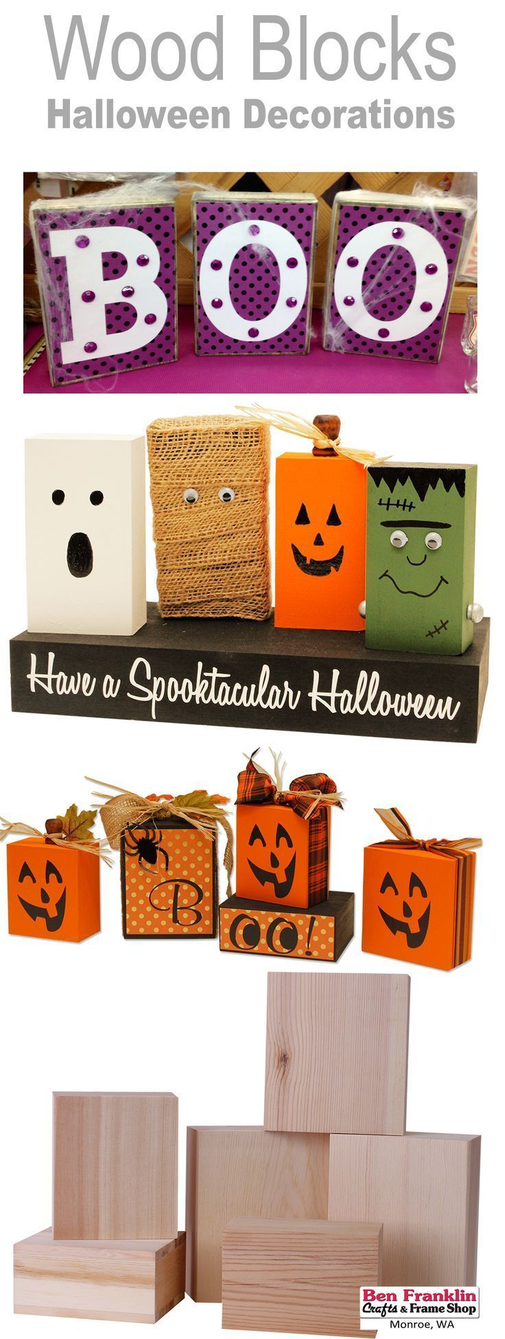 3 DIY HALLOWEEN BLOCK DECORATIONS Wonder what to do with unfinished - halloween decorations diy