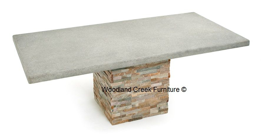 Patio Dining Table With Stacked Stone & Concrete Top  Yard Best Stone Top Dining Room Tables Decorating Design