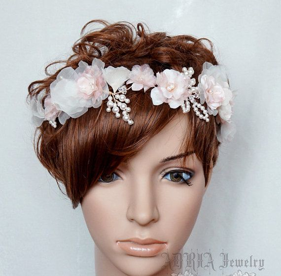 Flower wedding headband silk flower bridal crown wedding headpiece flower wedding headband silk flower bridal crown wedding headpiece pink off white ivory mightylinksfo