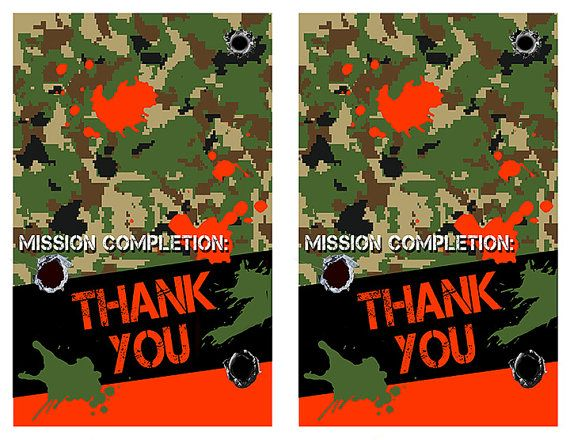Nerf Thank You Cards Nerf War Birthday Party By ParchmentSkies - Party invitation template: nerf war party invitation template