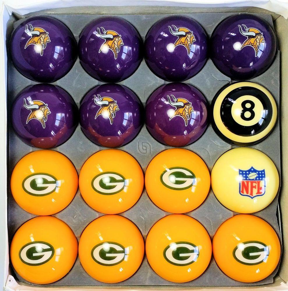 Green Bay Packers Minnesota Vikings Set Of Billiard Pool 8 Ball Nfl Football Greenbaypackers Green Bay Packers Minnesota Vikings Green Bay Packers Funny