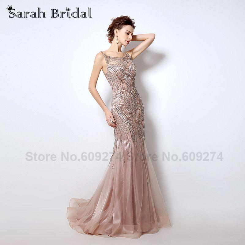 Open Back Blush Mermaid Evening Dresses High Quality Rhinestone ...