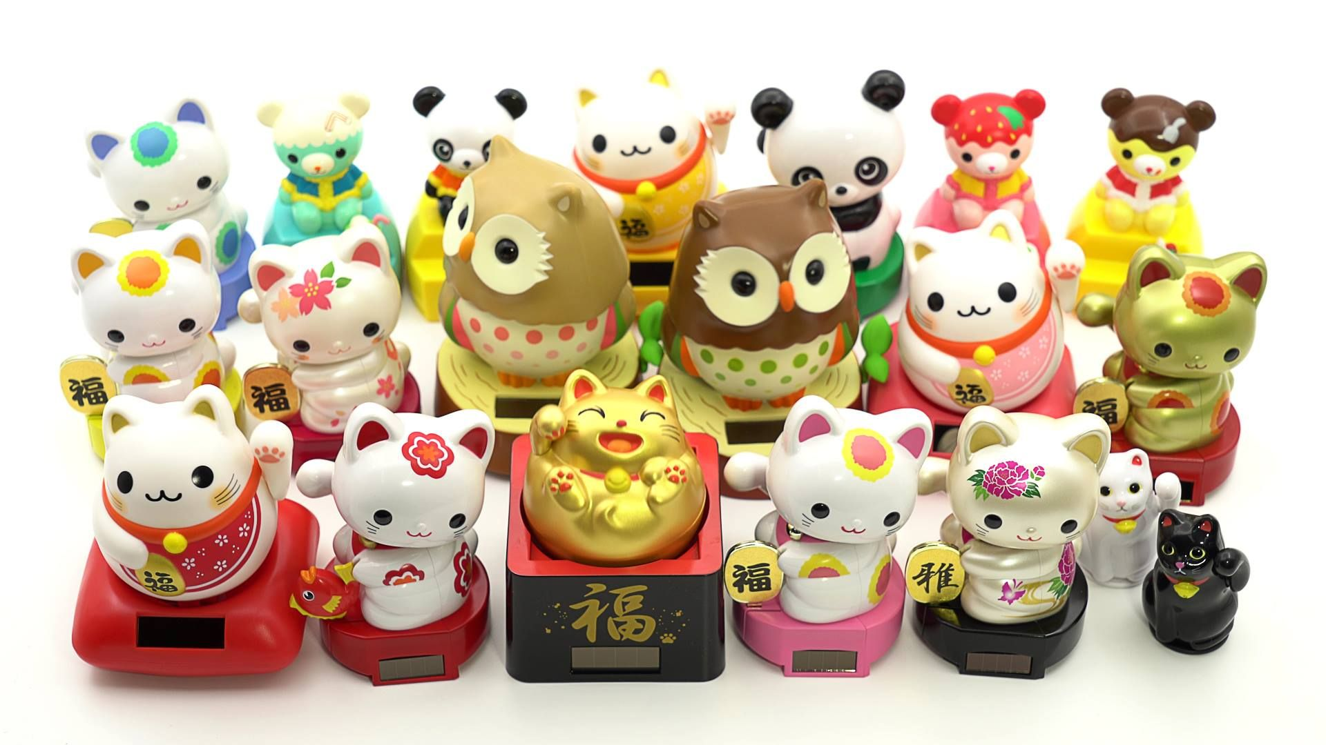 We Finally Have Bobble Head Solar Toys Back In Our Store We Have Owls Lucky Cats Pandas And Bears You Can Find Them In Our Sto Bobble Head Lucky Cat Kawaii
