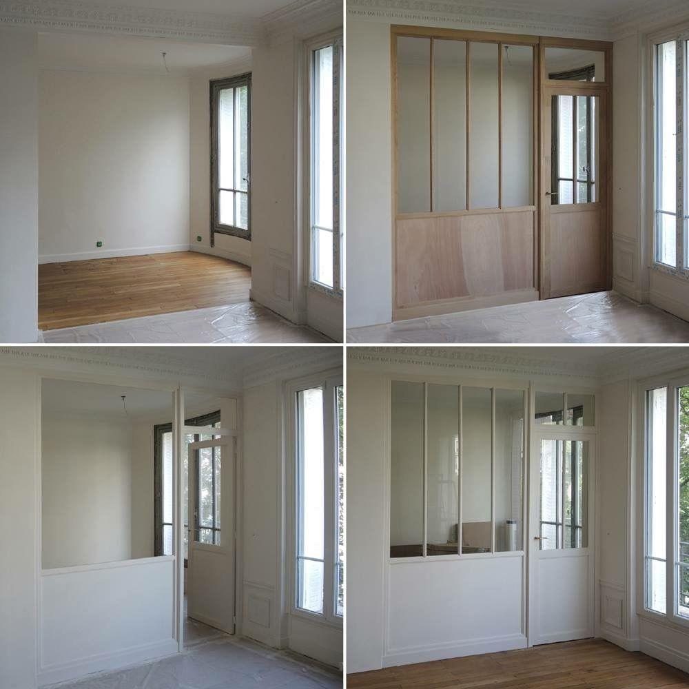 en bois puis peinture en blanc kuchnia en 2019 cloison. Black Bedroom Furniture Sets. Home Design Ideas