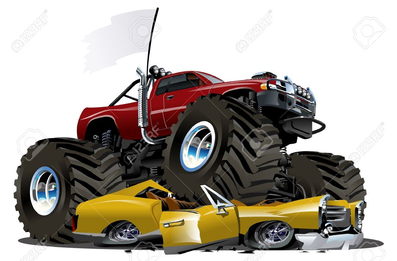 Cartoon Monster Truck With Images Monster Trucks Cartoon