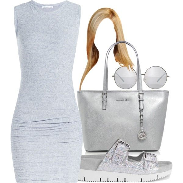 A fashion look from July 2015 featuring James Perse dresses, Ash sandals and MICHAEL Michael Kors tote bags. Browse and shop related looks.