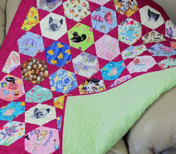 I Spy Quilt For Girls Minky Back Pink Cats By -6876