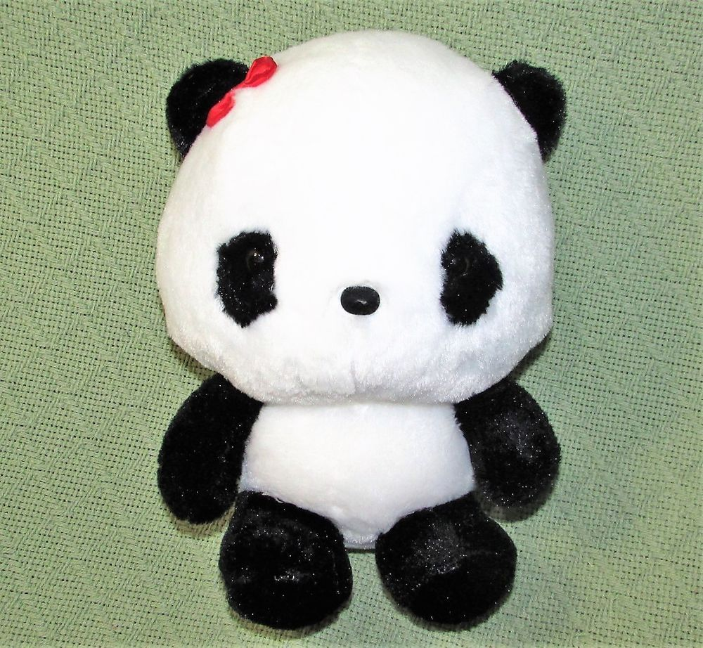 Japanese Anime Panda Plush Stuffed Animal Doll Toy Black White Red