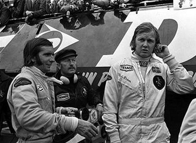 Emerson Fittipaldi and Colin Chapman & Ronnie Peterson 1973