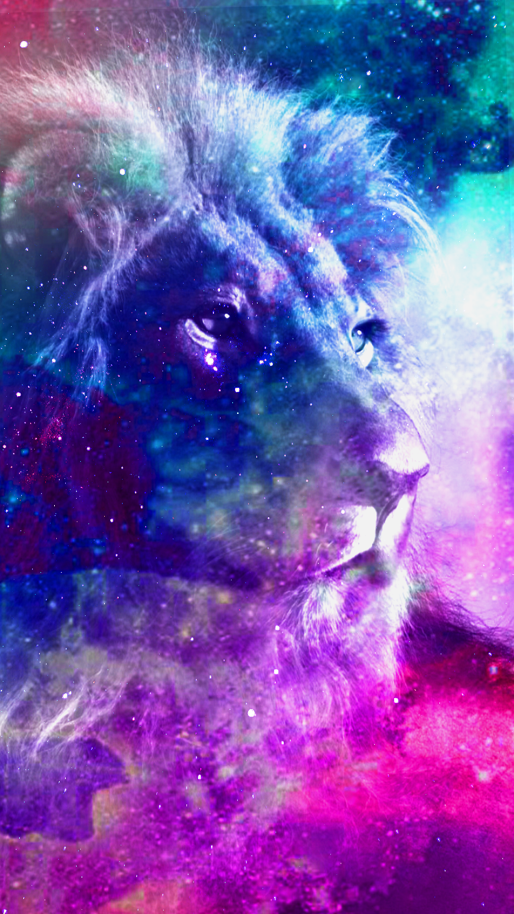 This Is The Lion I Photoshopped It Is Now Galaxy Lion Colorful Lion Lion Art Cool Artwork