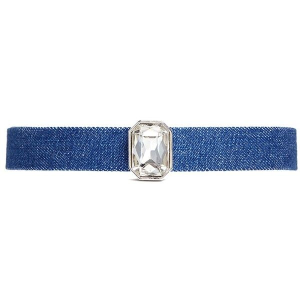 Kenneth Jay Lane Glass crystal charm denim choker (765 BRL) ❤ liked on Polyvore featuring jewelry, necklaces, blue, charm necklace, kenneth jay lane necklace, choker necklace, blue choker necklace and denim jewelry
