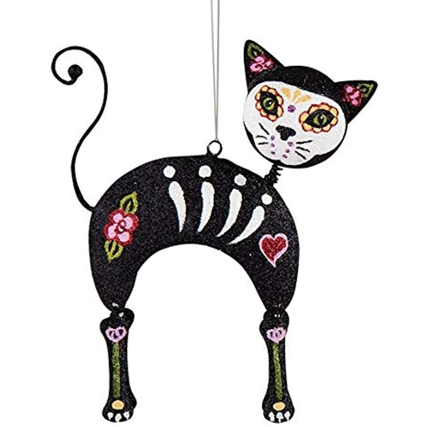 On Holiday Metal Sugar Skull Cat Day of The Dead A Christmas Tree Ornament -- Click image to ...