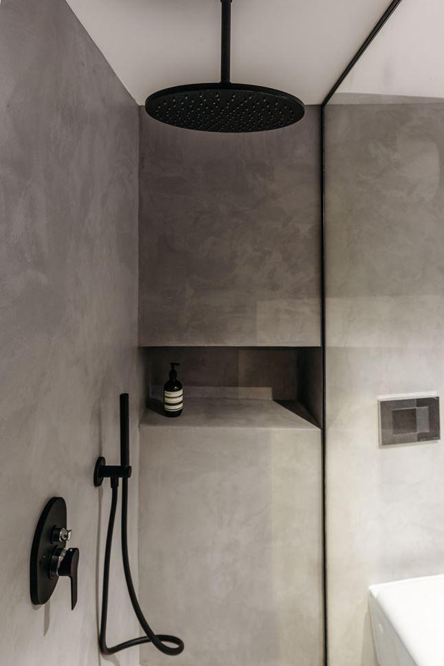 Matte Black Two Panel Splay Frameless Shower Screen Right Hinge