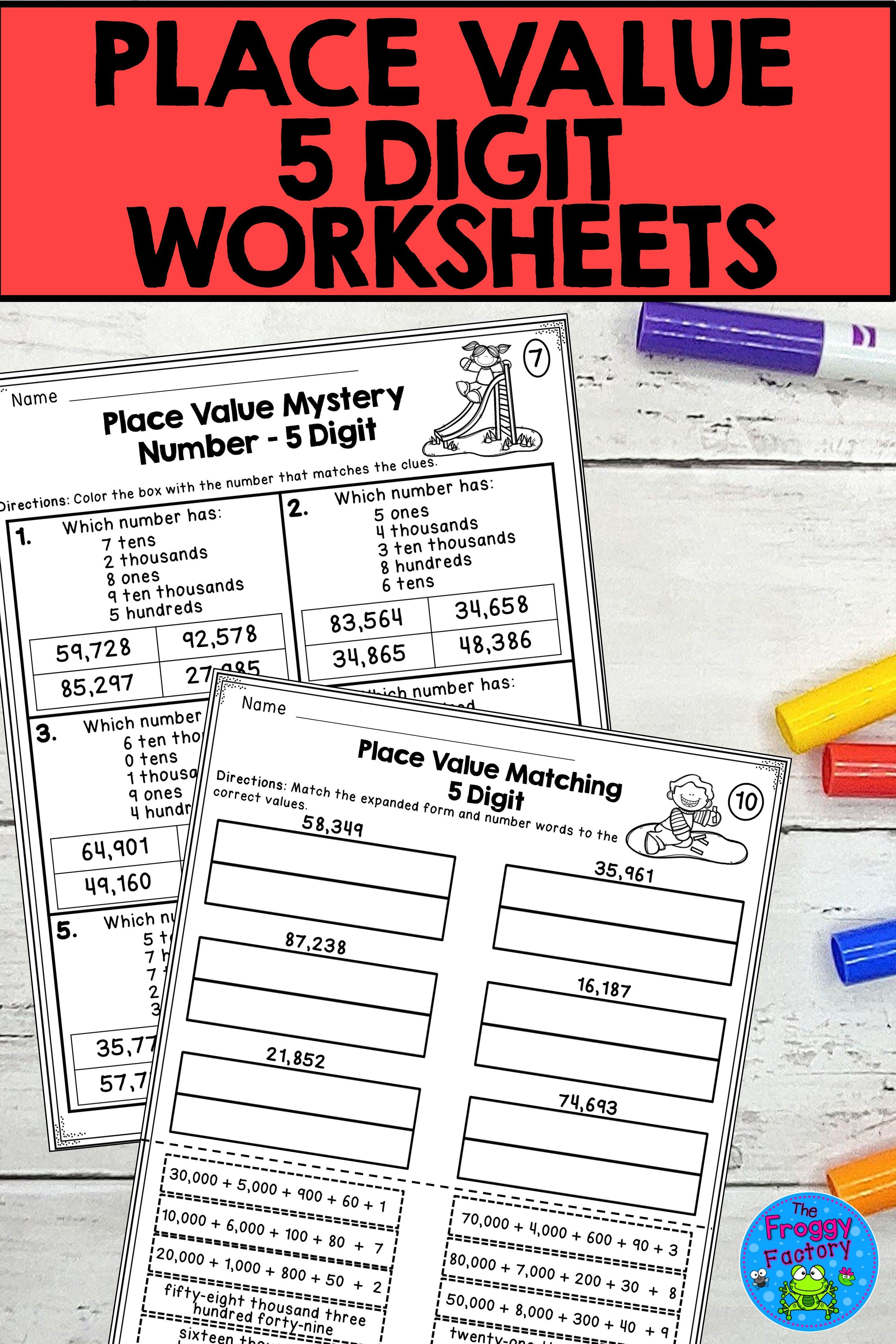 Place Value 5 Digit Worksheets   Place value worksheets [ 4500 x 3000 Pixel ]