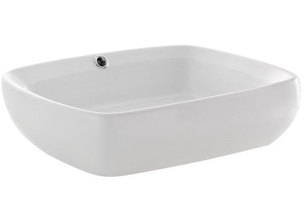Bellezza Ceramic Rectangular Vessel Bathroom Sink with Overflow in