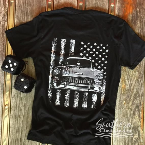 Vintage Classic Car on American Flag, 1957 Chevy Bel Air, Classic Car Shirt