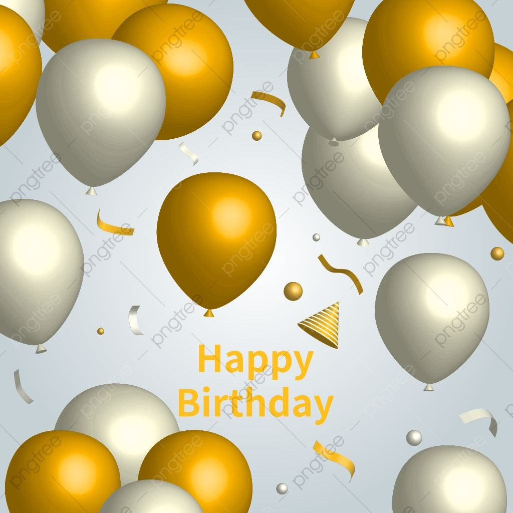 White And Gold Balloons Birthday Card Birthday Party Card Png And Vector With Transparent Background For Free Download Balloon Background Birthday Balloons Gold Balloons