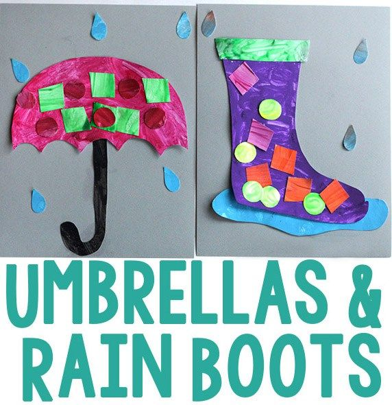 Rainy Day Umbrella And Rain Boot Craft Crafts Weather