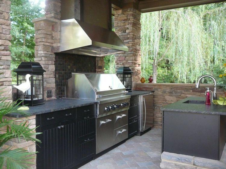 Outdoor Küchenschränke : Outdoor kueche garten schwarz design abzugshaube kuehlschrank