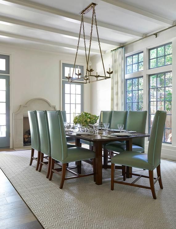 White And Green Dining Room Features A Chain Rectangular Fascinating Jute Rug In Dining Room 2018