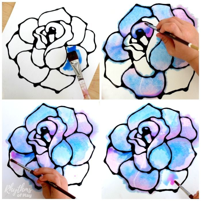 Rose Watercolor Resist Art Project Art Projects For Teens Art