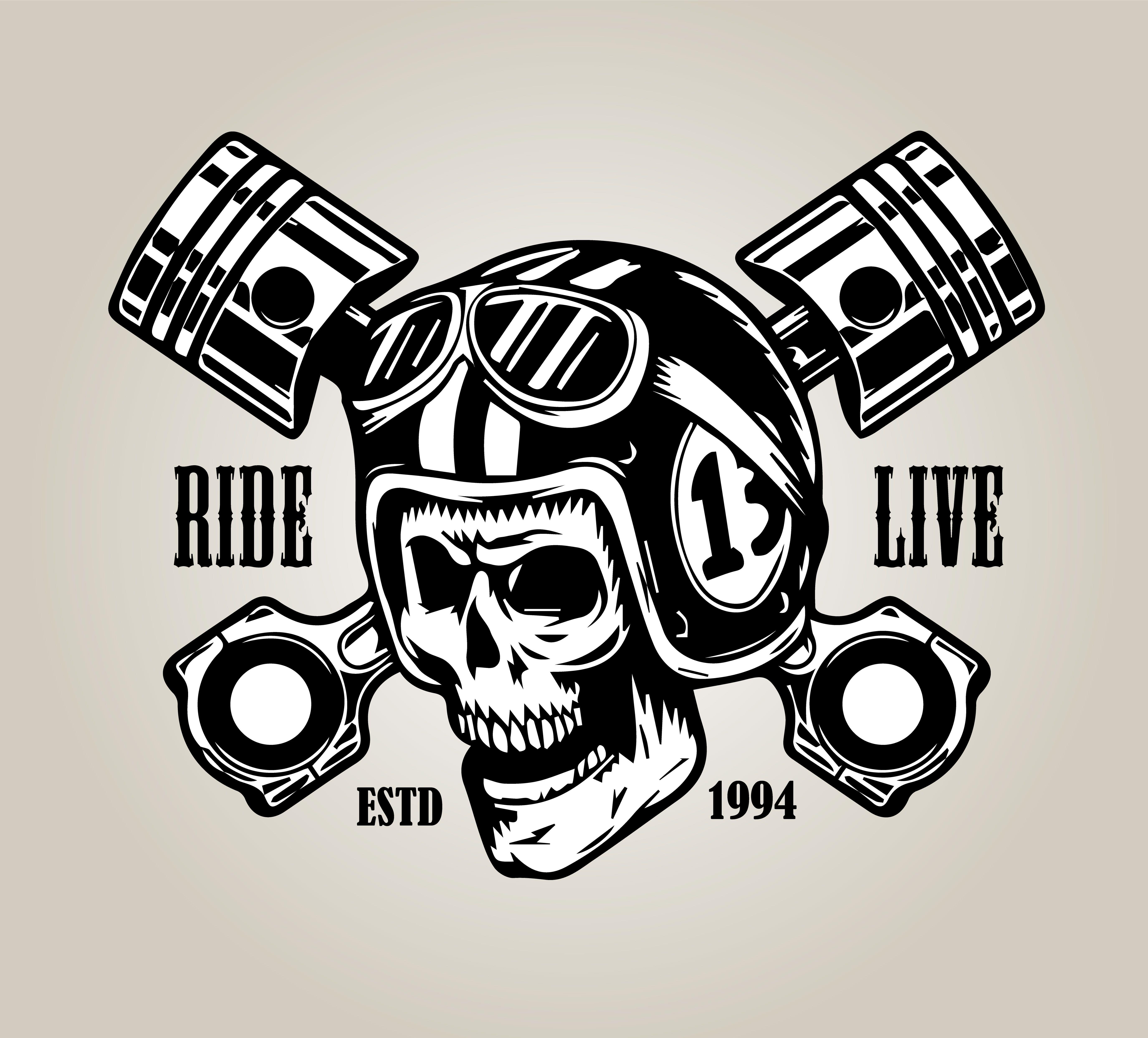 Skull Ride Logo Etiquette Vintage Vintage Casque Moto