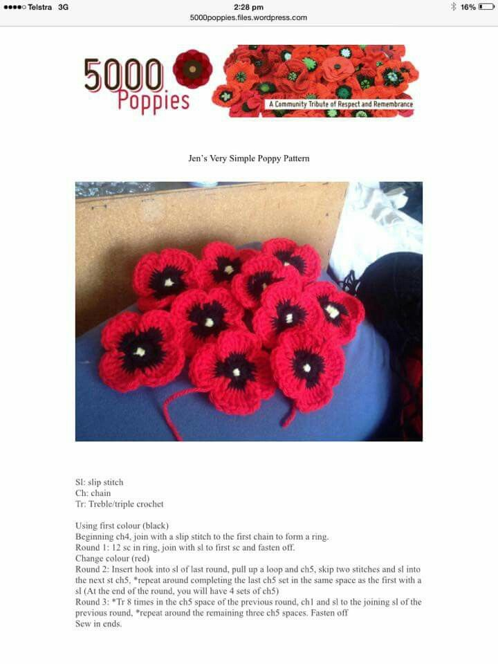5000 poppies crochet pattern #poppy #rememberance #armistice ...