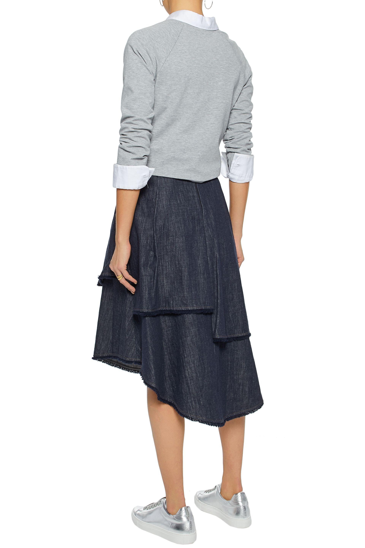 256d5c058c2 Fringe-trimmed layered denim skirt