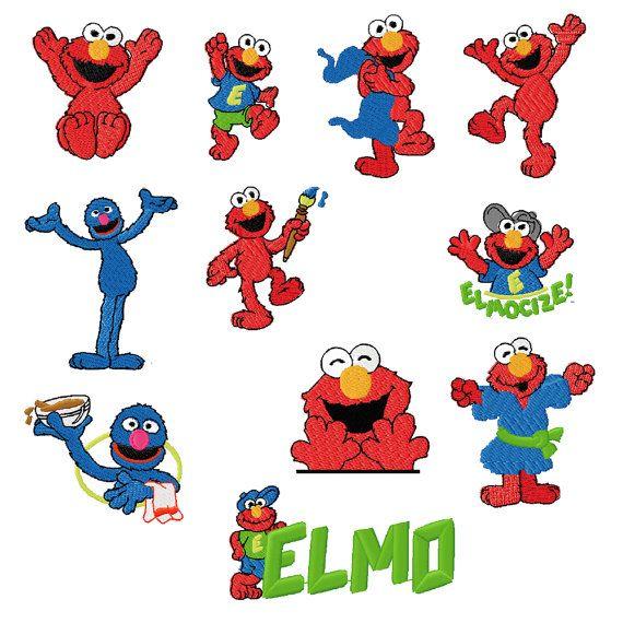 20 Sesame Street Elmo Embroidery Designs by SewTobie on Etsy