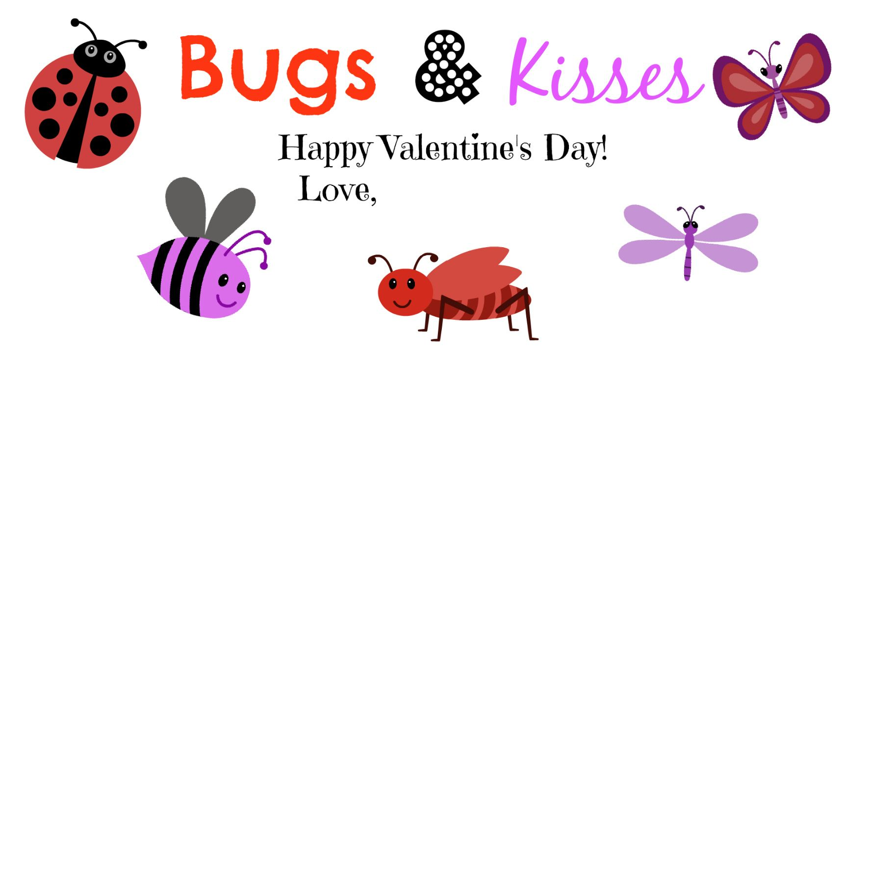 picture regarding Bugs and Kisses Printable named Insects Kisses! Valentines Working day Valentine working day playing cards