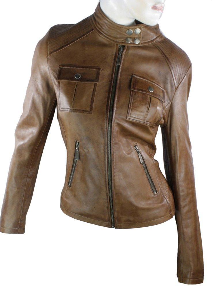 Womens tan leather look jacket – Modern fashion jacket photo blog