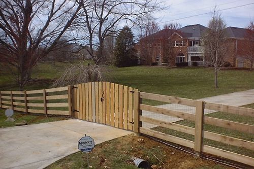 Farm Fence 4 board plank with arched picket double gate - fencing ...